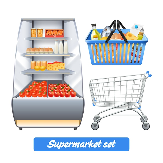 Supermarket set with realistic food shelves shopping basket and empty trolley Free Vector