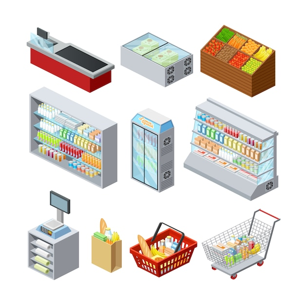 Supermarket shelves showcases freezer cashier counter and customer shopping basket Free Vector