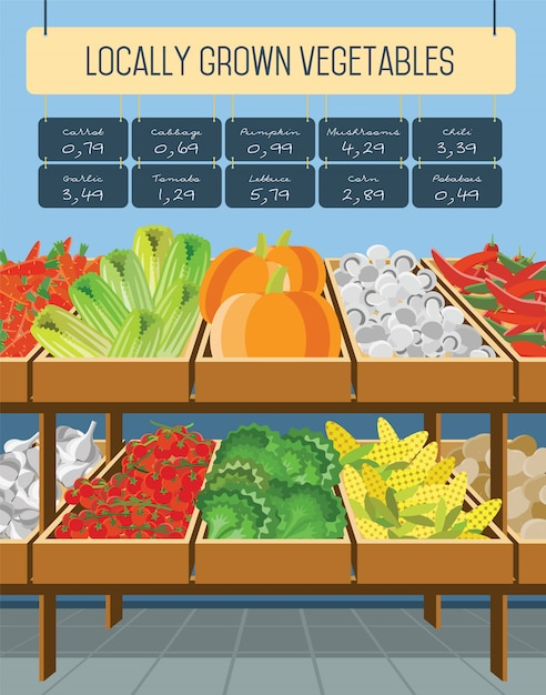 Supermarket shelves of vegetables. Premium Vector
