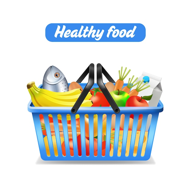 Supermarket shopping basket full of healthy food isolated on white background Free Vector