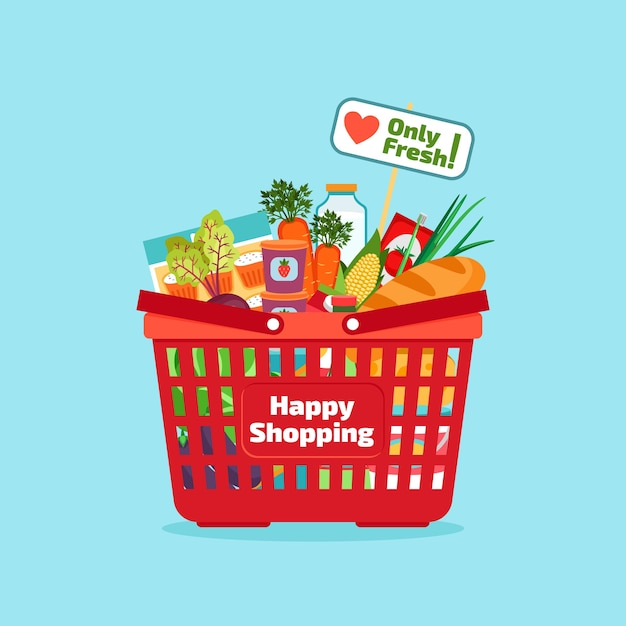 Supermarket shopping basket with fresh and natural food. vegetable and store, organic healthy, buy vitamin. vector illustration Free Vector