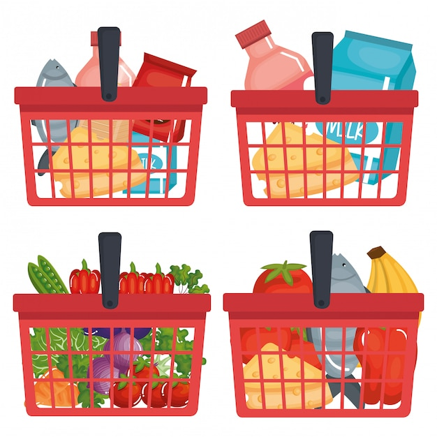 Supermarket shopping basket with groceries Free Vector