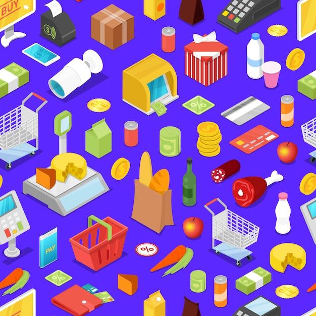 Supermarket shopping isometric seamless pattern Premium Vector