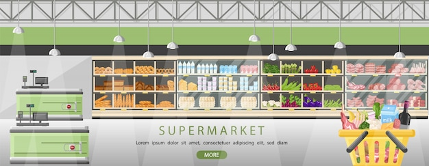 Supermarket stands with food products Premium Vector
