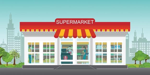 Supermarket store concept with people in supermarket Premium Vector