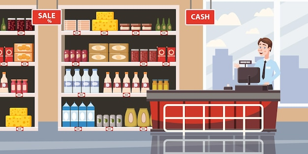 Supermarket or store interior with shelves and goods groceries cash desk and cashier big shopping c