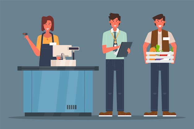 Supermarket workers collection concept Free Vector