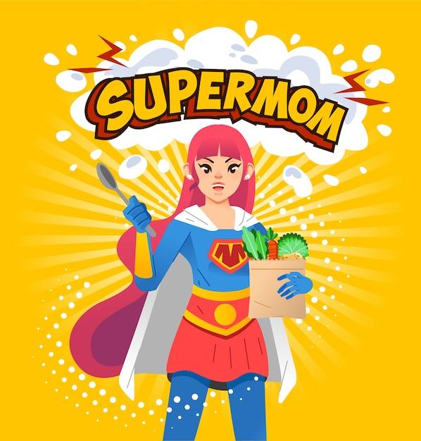 Supermomポスターイラスト、スプーンと上記のsupermomの文字と黄色の背景で食料品を保持している若いお母さん。ポスター、本の表紙などに使用 Premiumベクター