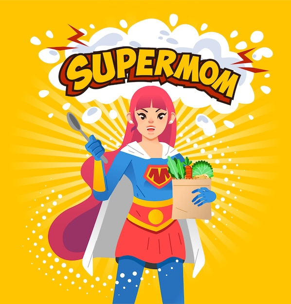 Supermom poster illustration, young mom holding spoon and groceries with supermom letter above and yellow background. used for poster, book cover and other Premium Vector