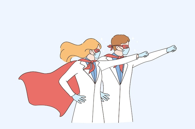 Superpower of doctors during coronavirus pandemic concept. man and woman doctors medical workers wearing surgical face mask in superhero costume standing and raising hands up Premium Vector