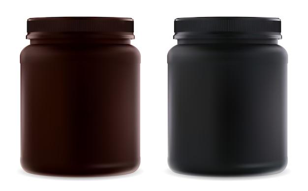 빈 병을 보충하십시오. 검은 단백질 병. 유청 분말 용기. 프리미엄 벡터