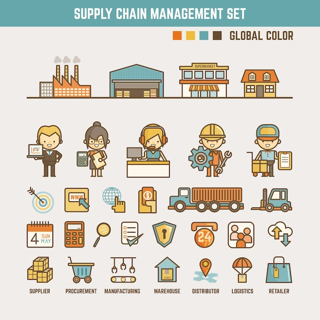 Supply chain infographic elements Vector | Premium Download