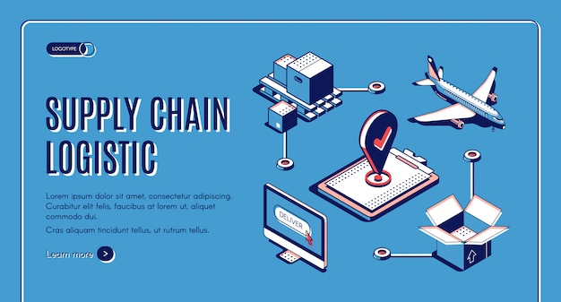 Supply chain logistic isometric landing page, airplane cargo transportation, goods delivery process Free Vector