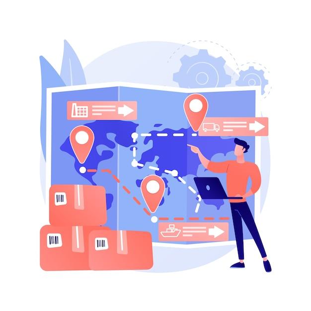 Иллюстрация вектора абстрактного понятия управления цепочкой поставок. управление логистическими операциями, хранение товаров и услуг, доставка продуктов, розничная торговля, абстрактная метафора транспортировки. Бесплатные векторы