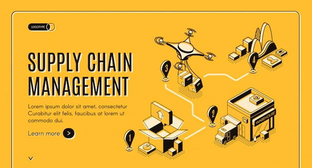 Supply chain management isometric banner Free Vector
