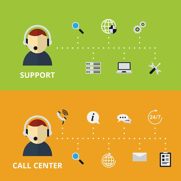 지원 및 콜 센터 개념 그림. 기술 지원 및 정보. 벡터 일러스트 레이 션 무료 벡터