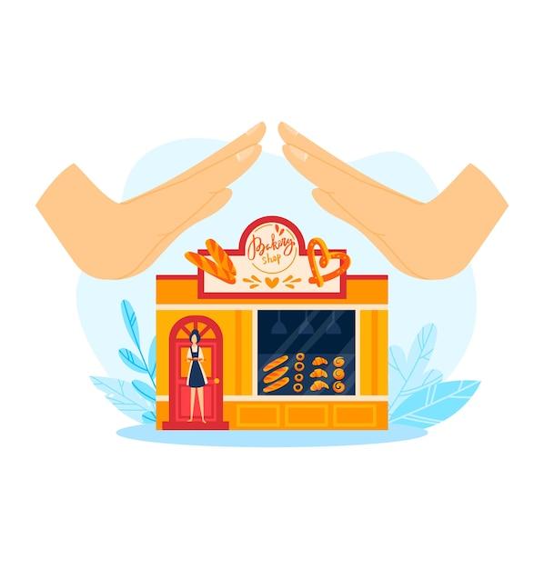 Поддержите пекарню и бизнес-иллюстрацию местного рынка. небольшой продуктовый магазин, коммерческий магазин хлеба. розничная архитектура Premium векторы