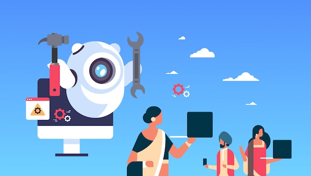 Support bot robot wrench service repair concept artificial intelligence indian people using gadgets flat horizontal Premium Vector