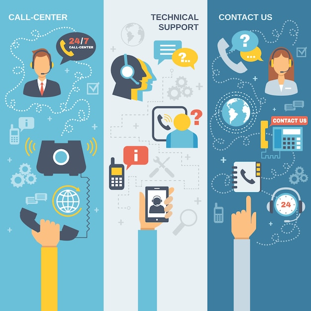 Support call center banner Free Vector