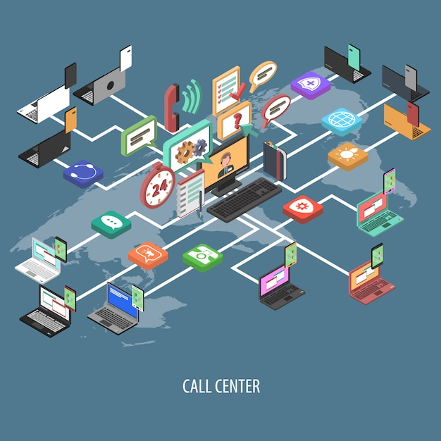 Support call center concept Free Vector
