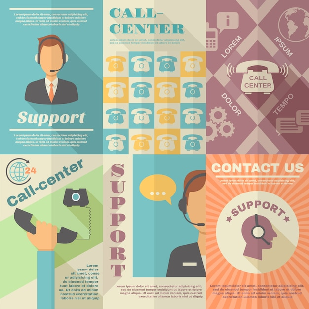 Support call center poster Premium Vector