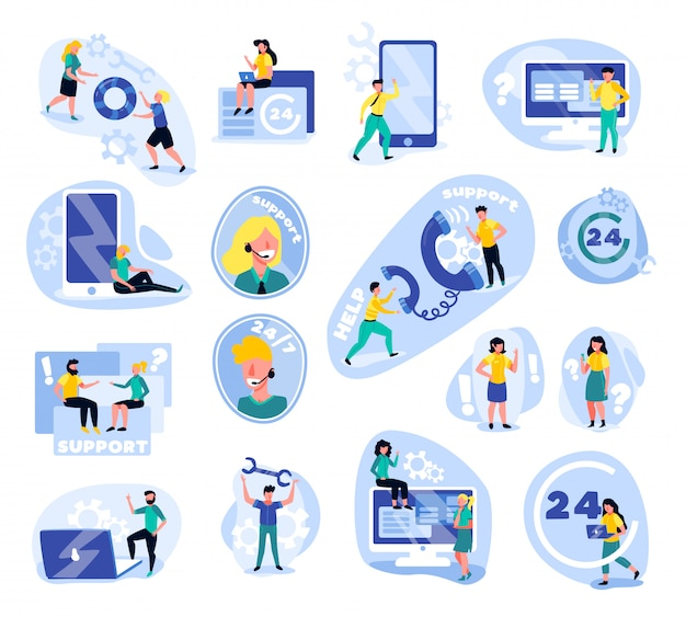 Support call centre set of isolated icons with doodle human characters gadgets icons Free Vector