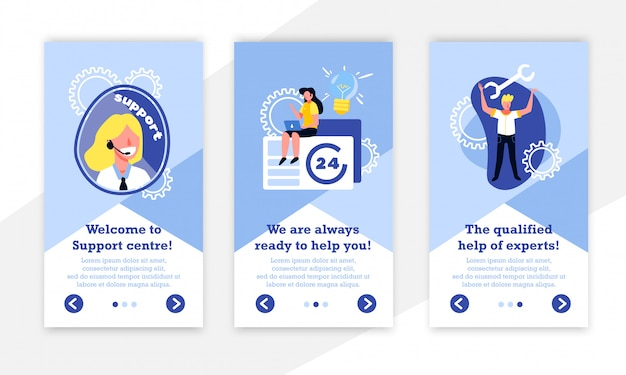 Support call centre vertical banners collection with gear icons human characters and editable text with buttons vector illustration Free Vector