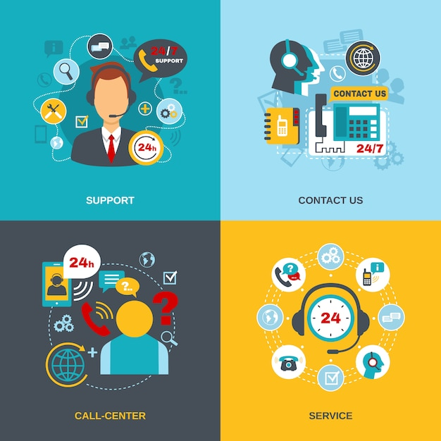 Support contact call center flat Free Vector