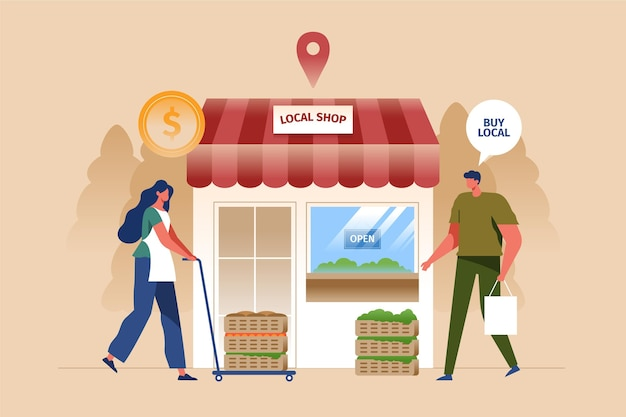 Support and help local business Free Vector
