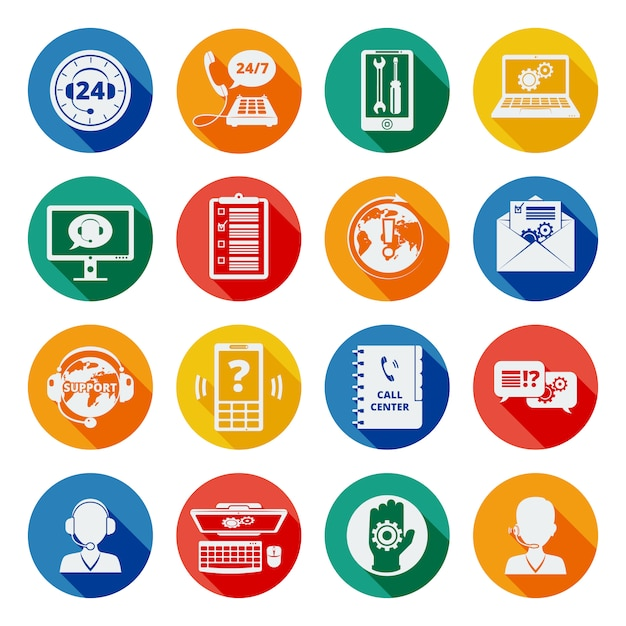 Support icons flat set Free Vector