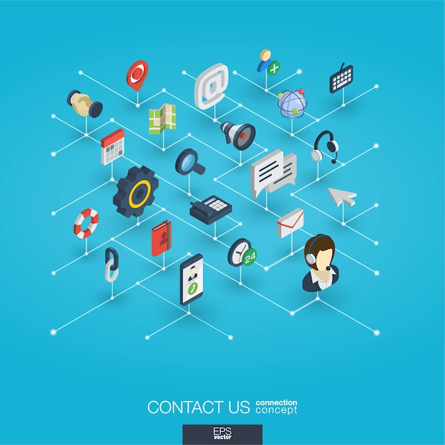 Support integrated 3d web icons. digital network isometric concept. Premium Vector