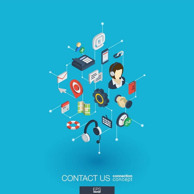 Support integrated  web icons. digital network isometric interact concept. connected graphic  dot and line system. background for call center, help service, contact us .  infograph Premium Vector