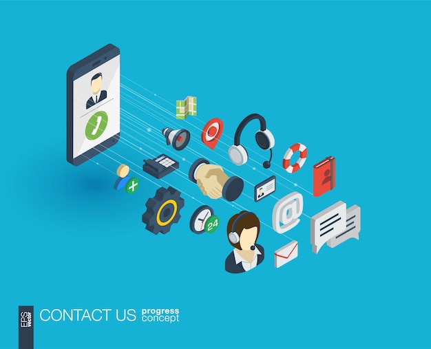 Support integrated  web icons. digital network isometric progress concept. connected graphic  line growth system. background for call center, help service, contact us .  infograph Premium Vector