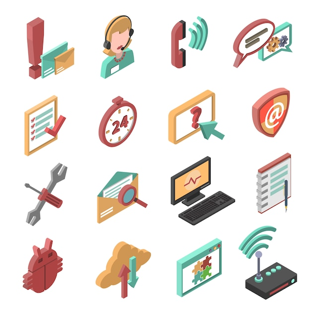 Support isometric icons set Free Vector