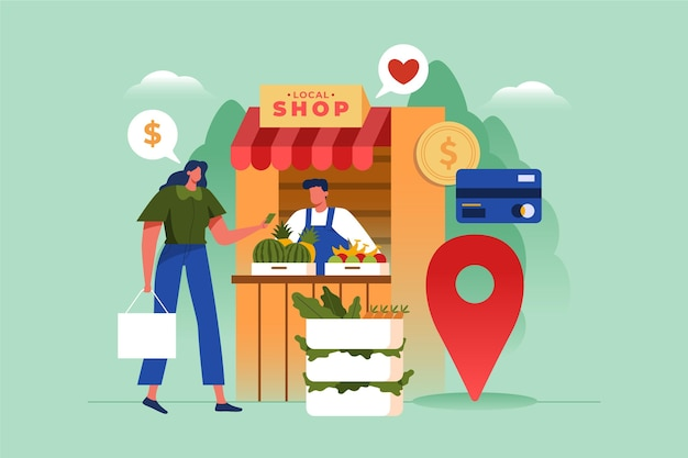 Supportare il concetto di business locale Vettore gratuito