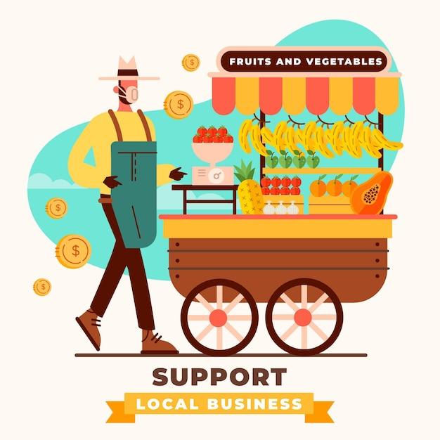 Supportare il concetto di business locale Vettore gratuito