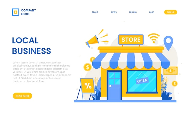 Support the local business landing page Premium Vector