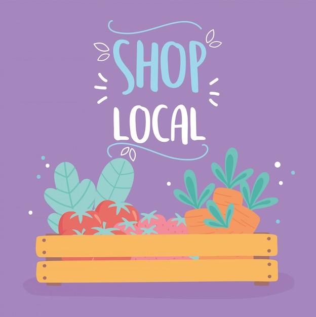Поддержка местного бизнеса, небольшой магазин, деревянная корзина с органическими фруктами и овощами Premium векторы