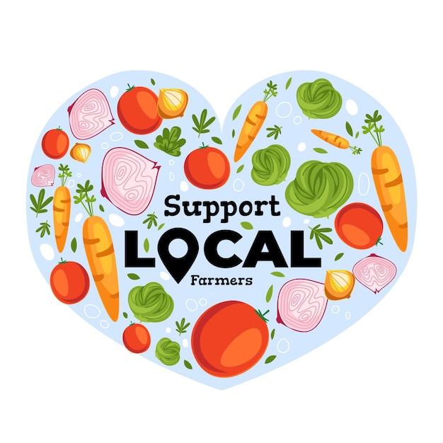 地元の農家の概念図をサポート 無料ベクター