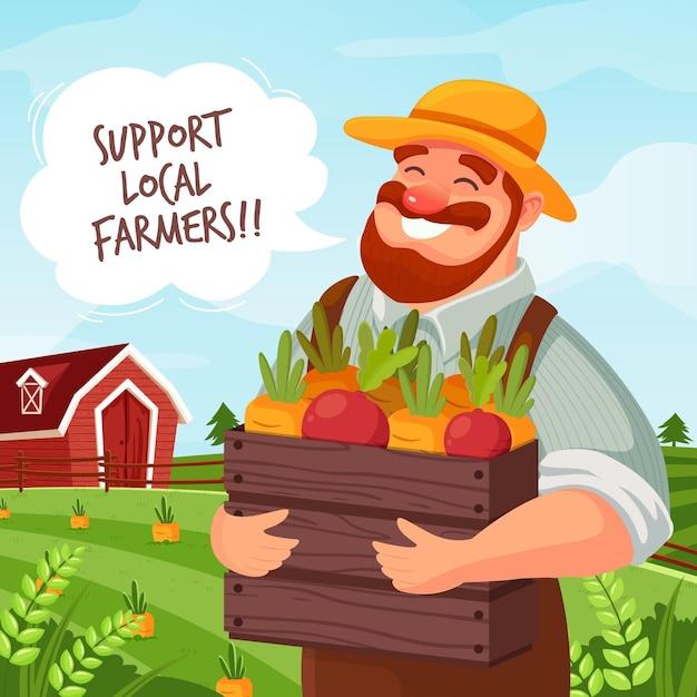 Поддержите иллюстрацию концепции местных фермеров Бесплатные векторы