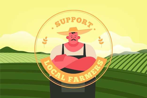 Support local farmers concept Free Vector