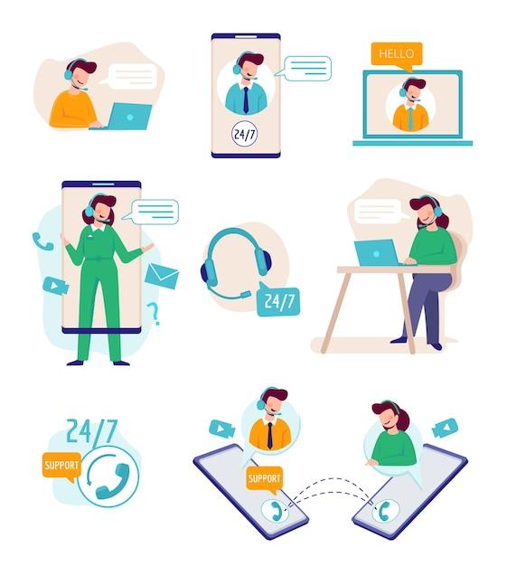 オンラインでサポートします。テクニカルエージェントと話す仮想アシスタントパーソン役立つマネージャービジネスサポートコールセンター。イラストサポートヘルプサービス、オンラインアシスタンスクライアント Premiumベクター