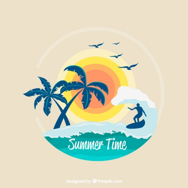Surf background with palm trees and sun Free Vector