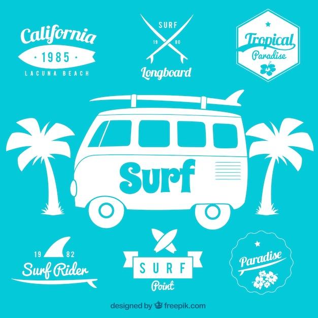 Surf badges Premium Vector