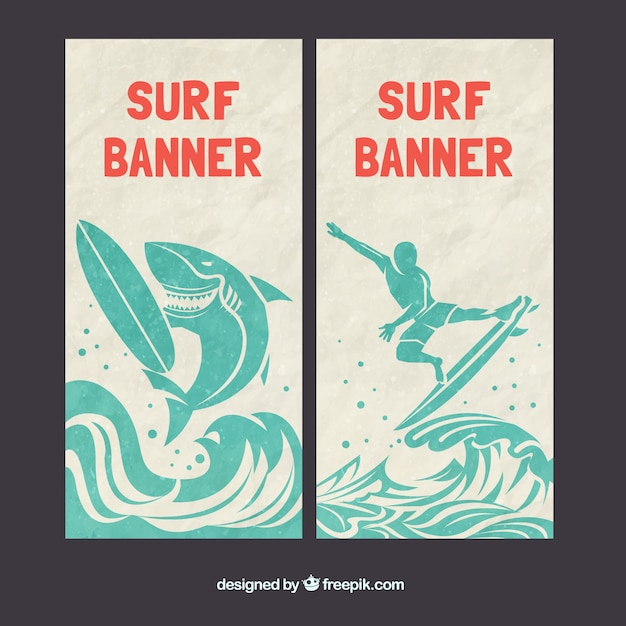 Surf banners with a shark Free Vector