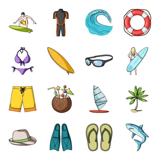 サーフ漫画セットアイコン。孤立した漫画は、海のアイコン旅行を設定します。イラストサーフ。 Premiumベクター