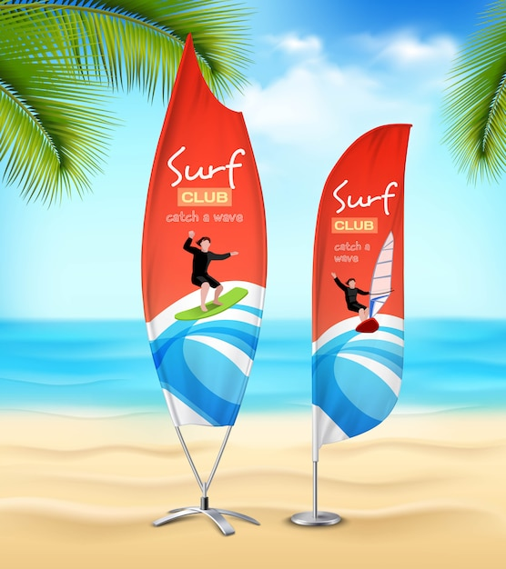 Surf club  advertisement beach banners Free Vector