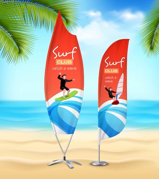 Surf club реклама пляжные баннеры Бесплатные векторы