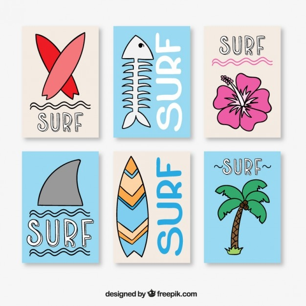 Surf Posters Collection Vector