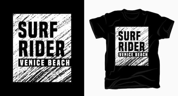 Футболка с надписью surf rider venice beach typography texture Premium векторы